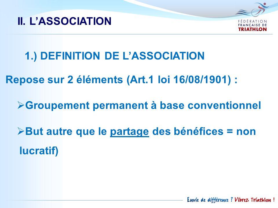 1.) DEFINITION DE LASSOCIATION Repose sur 2 éléments (Art.1 loi 16/08/1901) : Groupement permanent à base conventionnel But autre que le partage des b