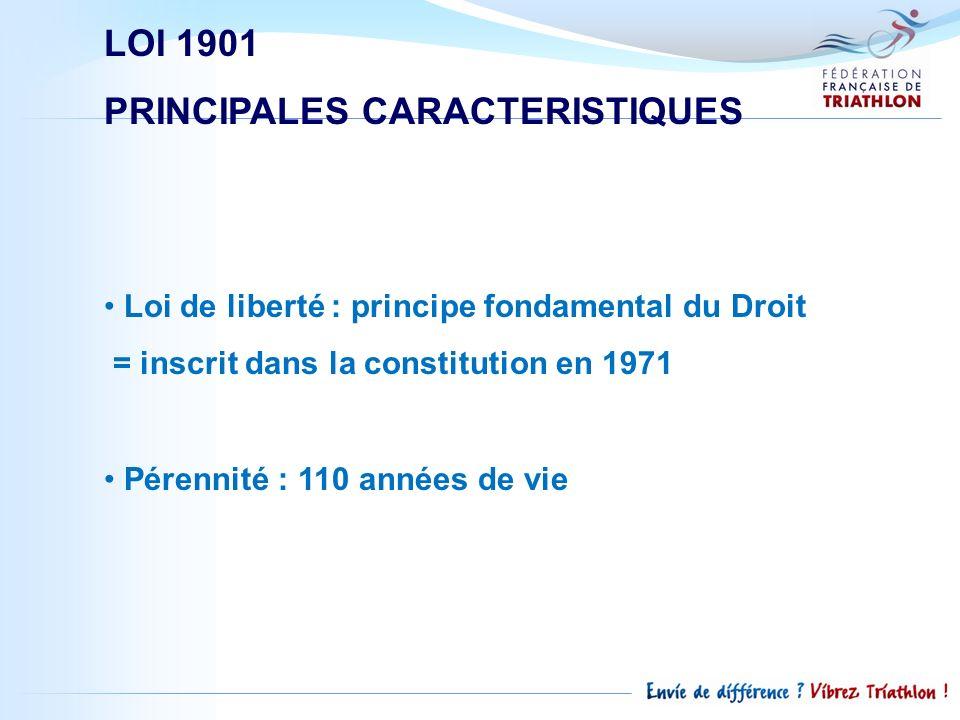 LOI 1901 PRINCIPALES CARACTERISTIQUES Loi de liberté : principe fondamental du Droit = inscrit dans la constitution en 1971 Pérennité : 110 années de
