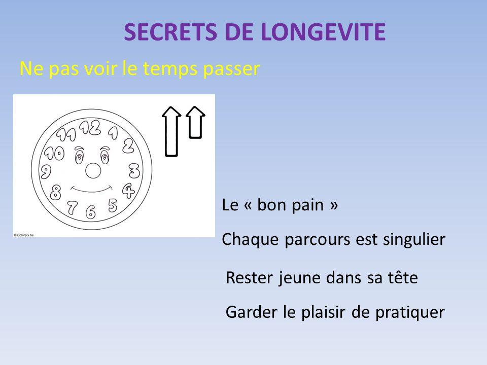 SECRETS DE LONGEVITE Ne pas voir le temps passer Le « bon pain » Chaque parcours est singulier Rester jeune dans sa tête Garder le plaisir de pratique