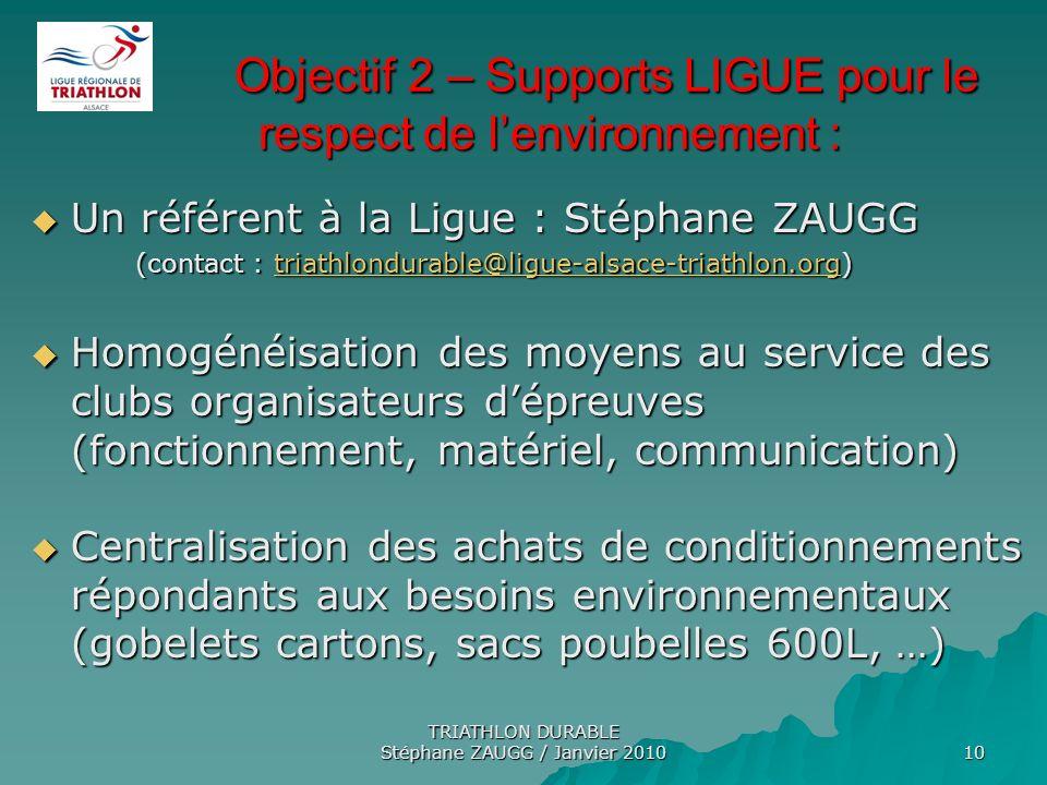 TRIATHLON DURABLE Stéphane ZAUGG / Janvier 2010 10 Objectif 2 – Supports LIGUE pour le respect de lenvironnement : Objectif 2 – Supports LIGUE pour le