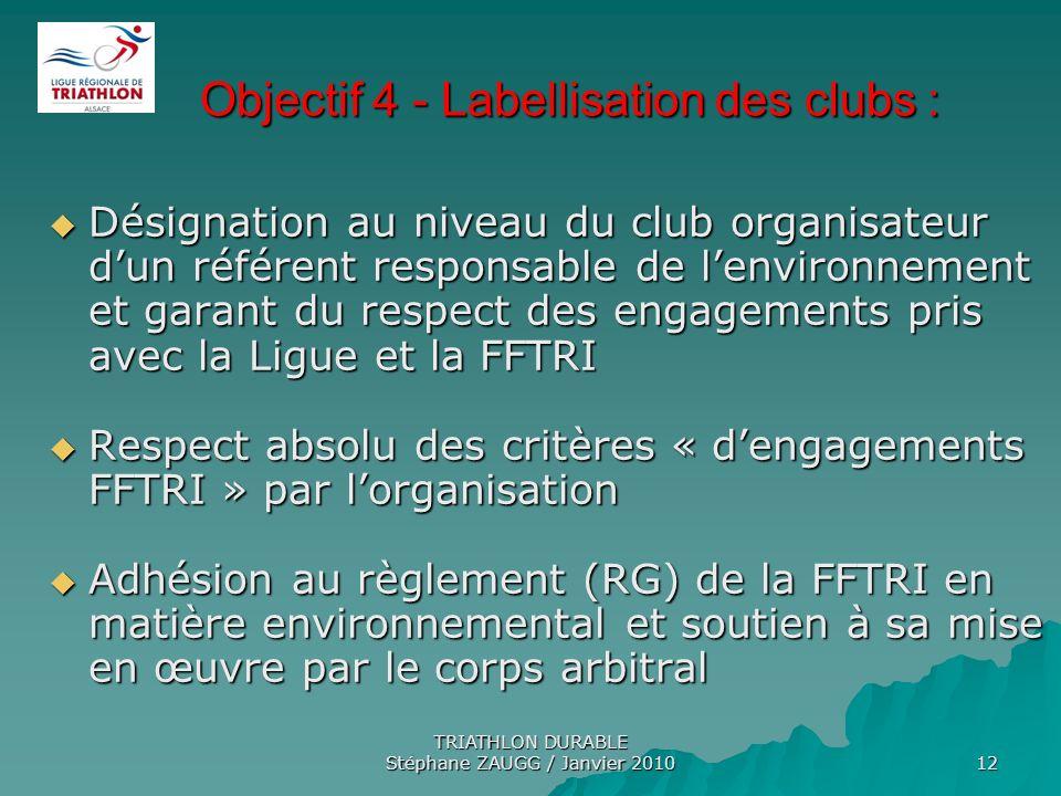 TRIATHLON DURABLE Stéphane ZAUGG / Janvier 2010 12 Objectif 4 - Labellisation des clubs : Objectif 4 - Labellisation des clubs : Désignation au niveau