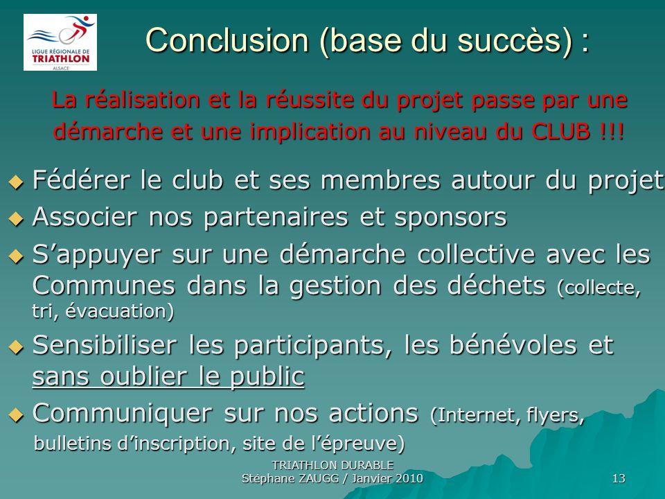TRIATHLON DURABLE Stéphane ZAUGG / Janvier 2010 13 Conclusion (base du succès) : Conclusion (base du succès) : La réalisation et la réussite du projet