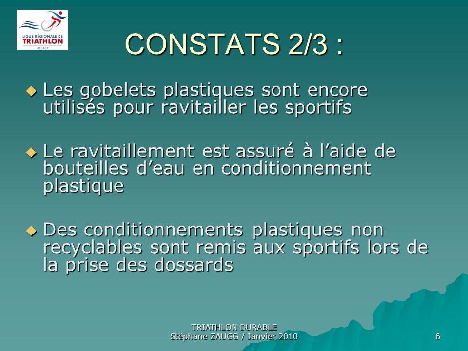 TRIATHLON DURABLE Stéphane ZAUGG / Janvier 2010 6 CONSTATS 2/3 : Les gobelets plastiques sont encore utilisés pour ravitailler les sportifs Les gobele