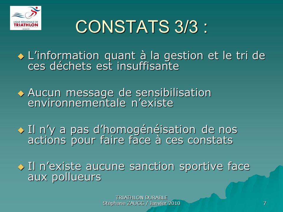 TRIATHLON DURABLE Stéphane ZAUGG / Janvier 2010 7 CONSTATS 3/3 : Linformation quant à la gestion et le tri de ces déchets est insuffisante Linformatio