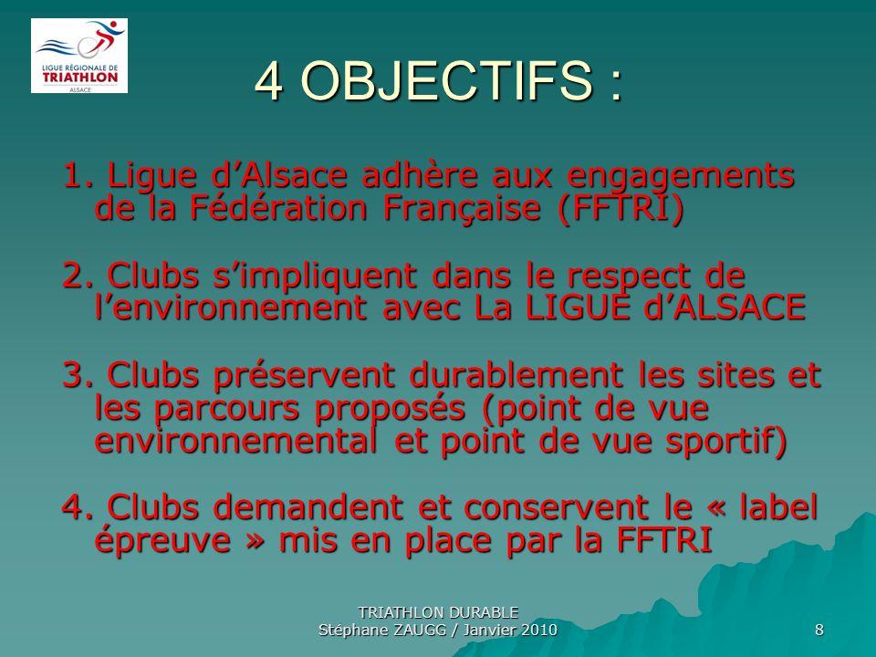TRIATHLON DURABLE Stéphane ZAUGG / Janvier 2010 8 4 OBJECTIFS : 1. Ligue dAlsace adhère aux engagements de la Fédération Française (FFTRI) 2. Clubs si