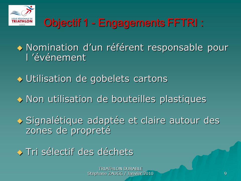 TRIATHLON DURABLE Stéphane ZAUGG / Janvier 2010 9 Objectif 1 - Engagements FFTRI : Objectif 1 - Engagements FFTRI : Nomination dun référent responsabl