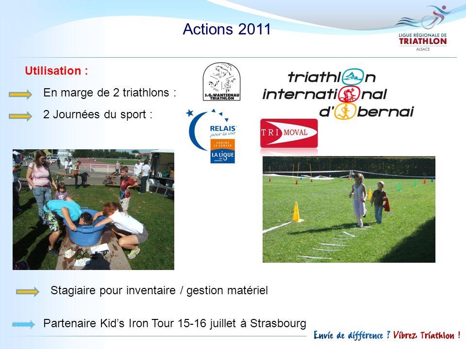 Actions 2011 Utilisation : En marge de 2 triathlons : 2 Journées du sport : Stagiaire pour inventaire / gestion matériel Partenaire Kids Iron Tour 15-16 juillet à Strasbourg