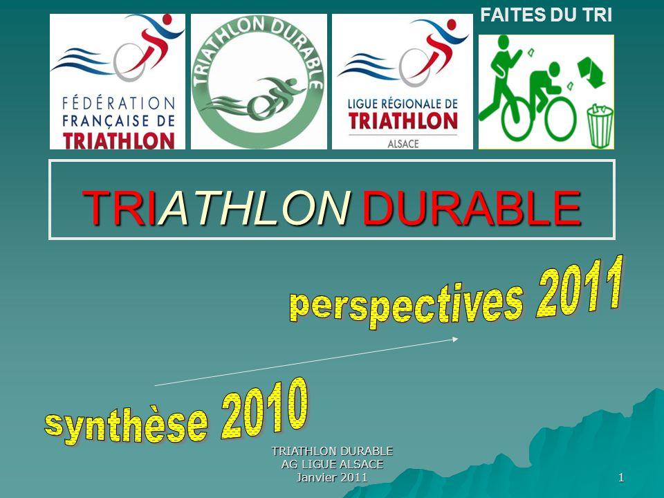 TRIATHLON DURABLE AG LIGUE ALSACE Janvier 2011 12 Pour construire des propositions en faveur du DD du sport .