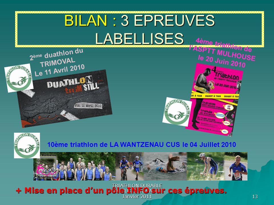 TRIATHLON DURABLE AG LIGUE ALSACE Janvier 2011 13 BILAN : 3 EPREUVES LABELLISES 2 ème duathlon du TRIMOVAL Le 11 Avril 2010 4ème triathlon de lASPTT M