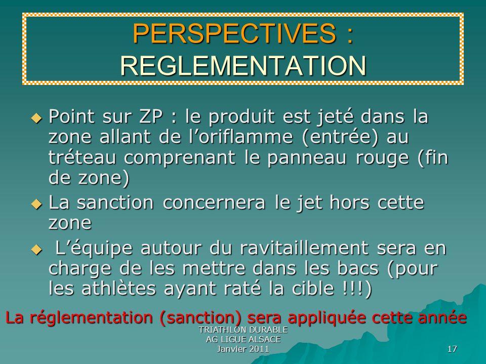 TRIATHLON DURABLE AG LIGUE ALSACE Janvier 2011 17 Point sur ZP : le produit est jeté dans la zone allant de loriflamme (entrée) au tréteau comprenant