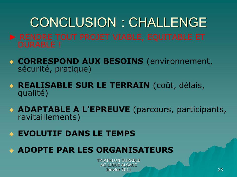 TRIATHLON DURABLE AG LIGUE ALSACE Janvier 2011 23 CONCLUSION : CHALLENGE RENDRE TOUT PROJET VIABLE, EQUITABLE ET DURABLE ! CORRESPOND AUX BESOINS (env