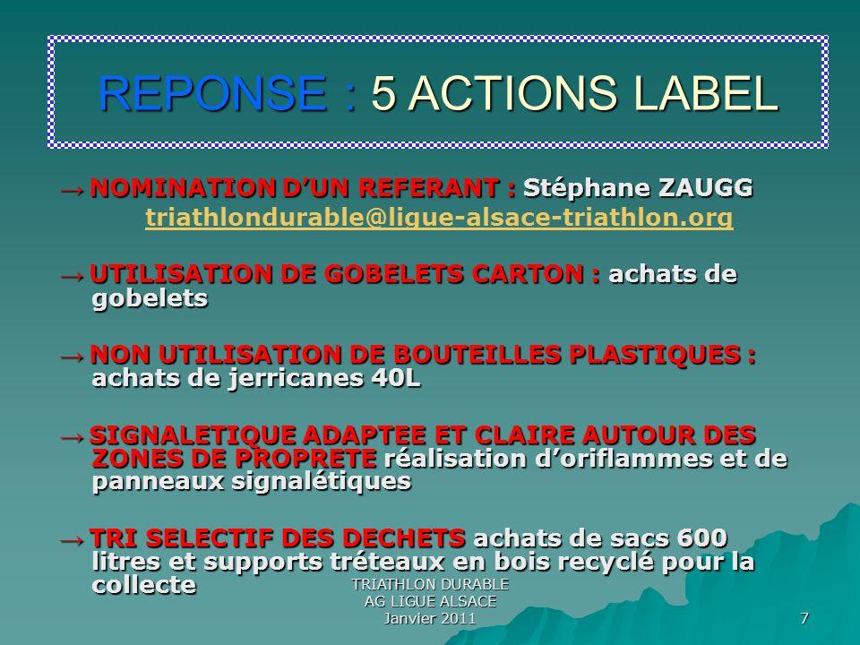 TRIATHLON DURABLE AG LIGUE ALSACE Janvier 2011 8 ZONE DE PROPRETE = Distance de A à B A B