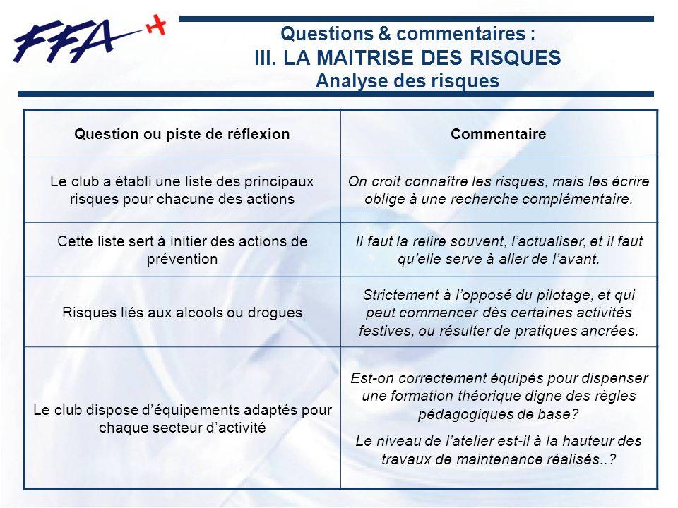Questions & commentaires : III. LA MAITRISE DES RISQUES Analyse des risques Question ou piste de réflexionCommentaire Le club a établi une liste des p