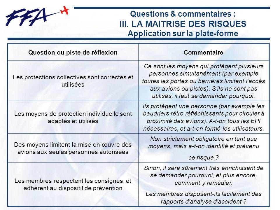 Questions & commentaires : III. LA MAITRISE DES RISQUES Application sur la plate-forme Question ou piste de réflexionCommentaire Les protections colle