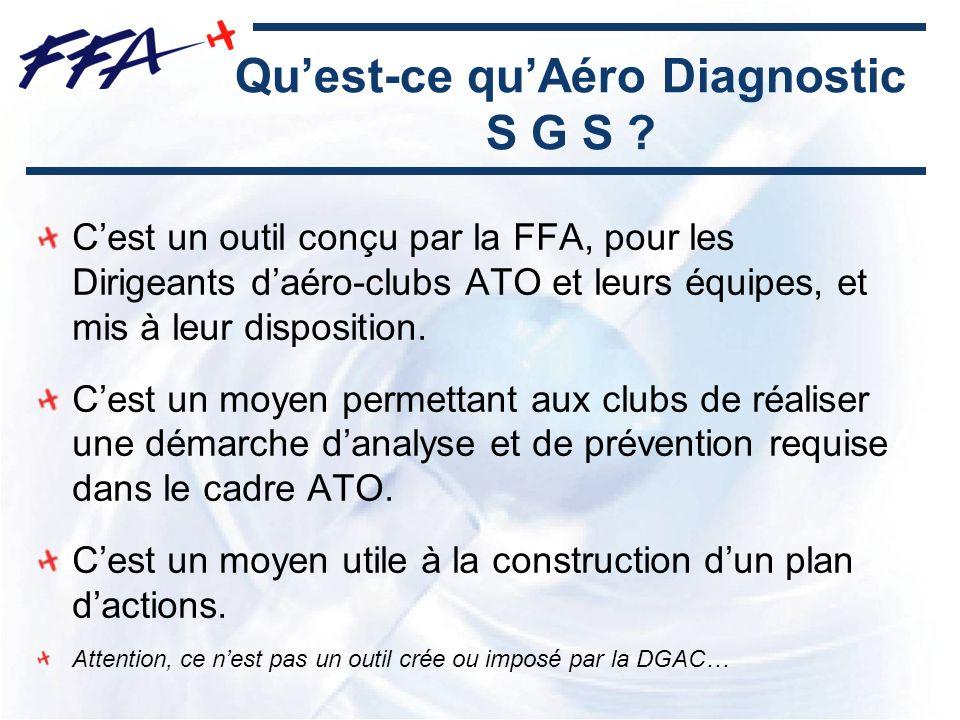 Quest-ce quAéro Diagnostic S G S ? Cest un outil conçu par la FFA, pour les Dirigeants daéro-clubs ATO et leurs équipes, et mis à leur disposition. Ce