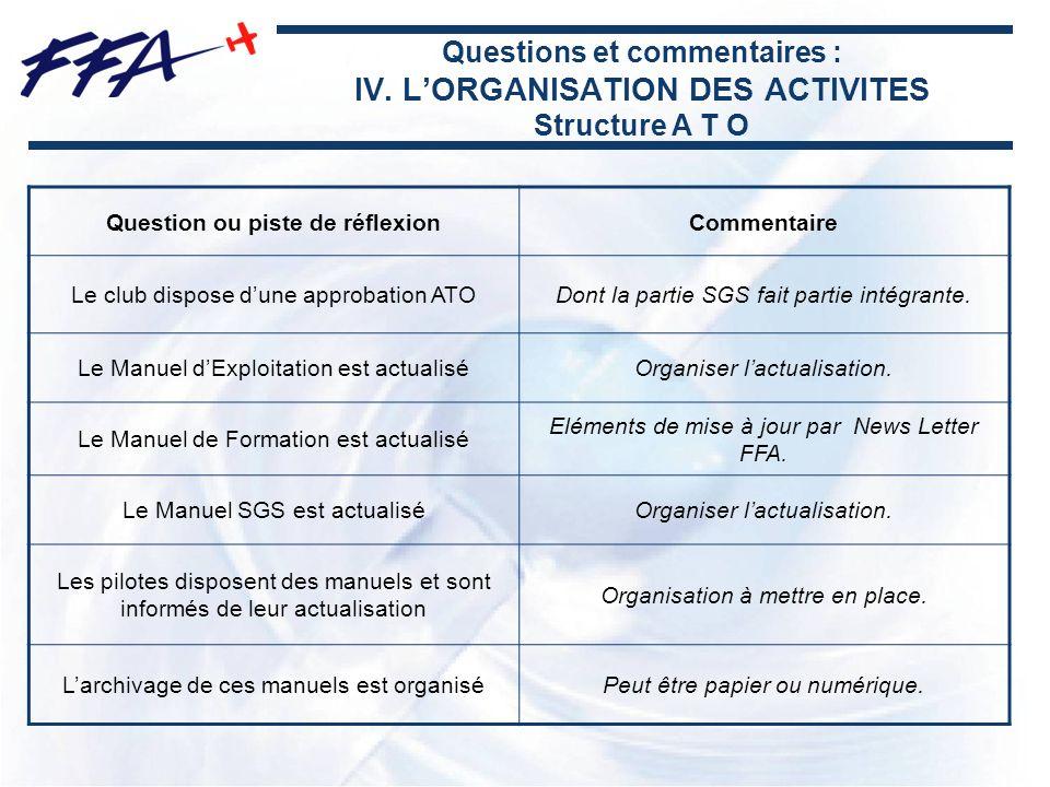 Questions et commentaires : IV. LORGANISATION DES ACTIVITES Structure A T O Question ou piste de réflexionCommentaire Le club dispose dune approbation