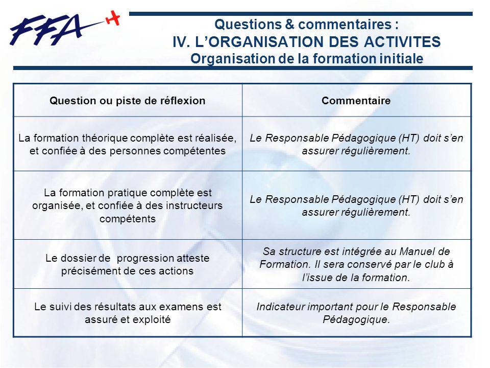 Questions & commentaires : IV. LORGANISATION DES ACTIVITES Organisation de la formation initiale Question ou piste de réflexionCommentaire La formatio