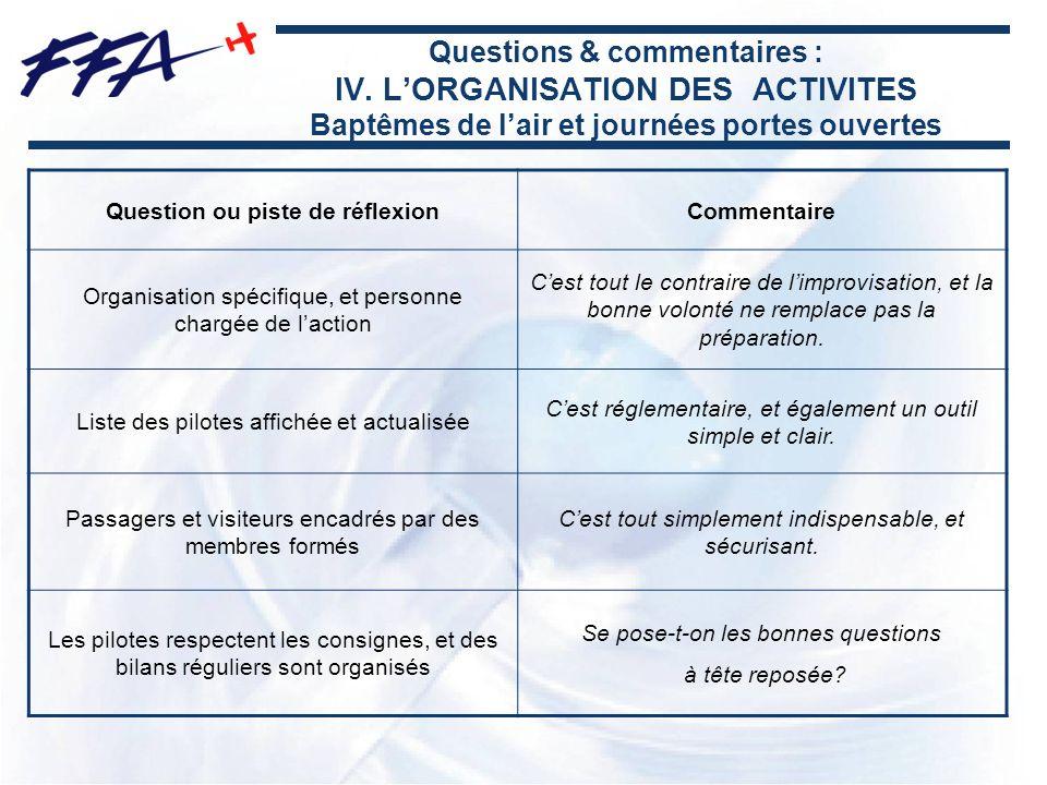 Questions & commentaires : IV. LORGANISATION DES ACTIVITES Baptêmes de lair et journées portes ouvertes Question ou piste de réflexionCommentaire Orga