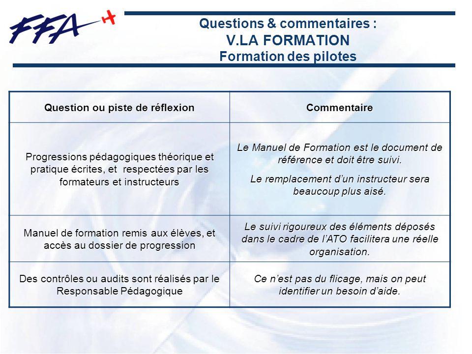 Questions & commentaires : V.LA FORMATION Formation des pilotes Question ou piste de réflexion Commentaire Progressions pédagogiques théorique et prat