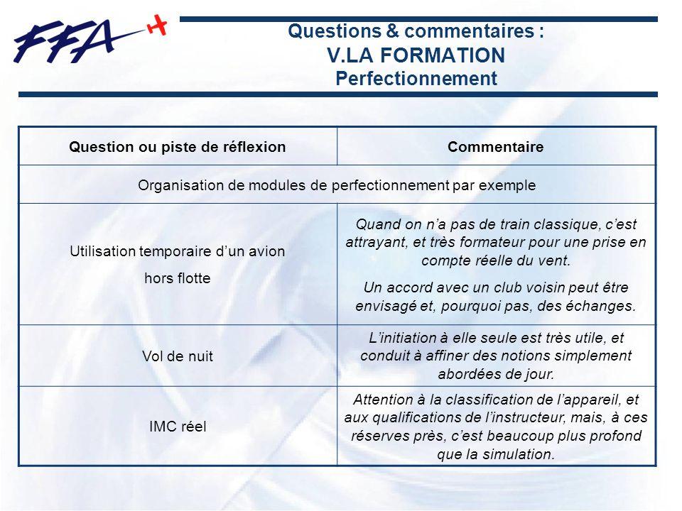 Questions & commentaires : V.LA FORMATION Perfectionnement Question ou piste de réflexionCommentaire Organisation de modules de perfectionnement par e