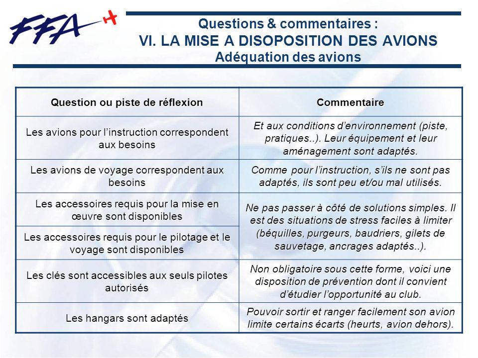 Questions & commentaires : VI. LA MISE A DISOPOSITION DES AVIONS Adéquation des avions Question ou piste de réflexion Commentaire Les avions pour lins