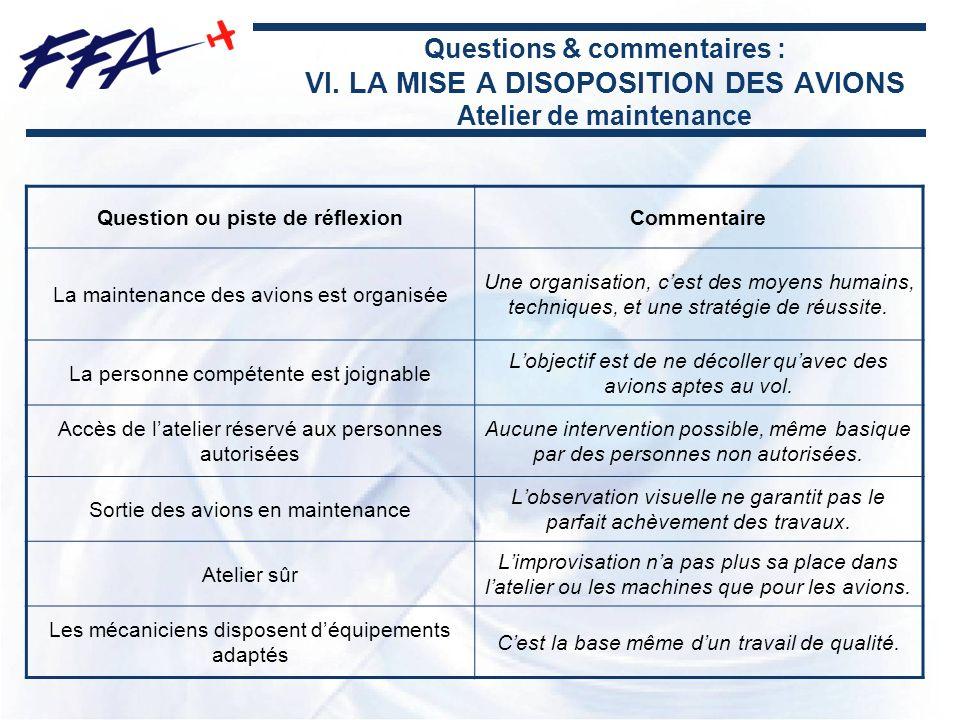 Questions & commentaires : VI. LA MISE A DISOPOSITION DES AVIONS Atelier de maintenance Question ou piste de réflexionCommentaire La maintenance des a