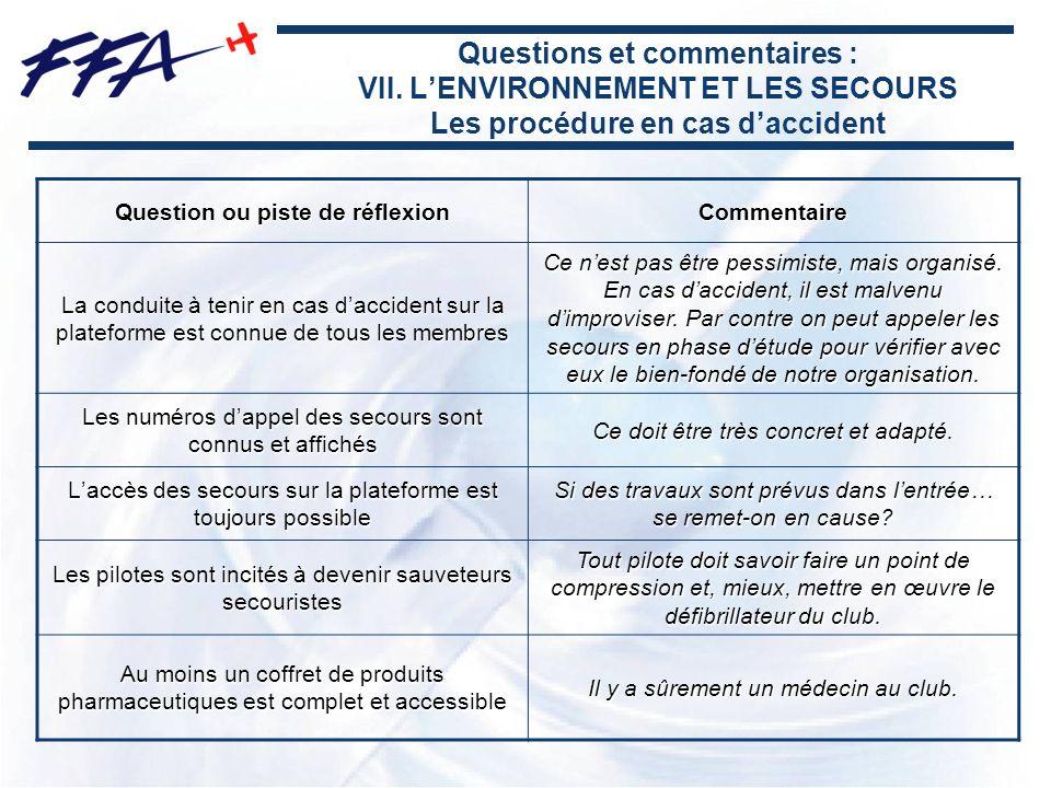Questions et commentaires : VII. LENVIRONNEMENT ET LES SECOURS Les procédure en cas daccident Question ou piste de réflexion Commentaire La conduite à