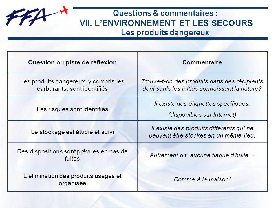 Questions & commentaires : VII. LENVIRONNEMENT ET LES SECOURS Les produits dangereux Question ou piste de réflexionCommentaire Les produits dangereux,