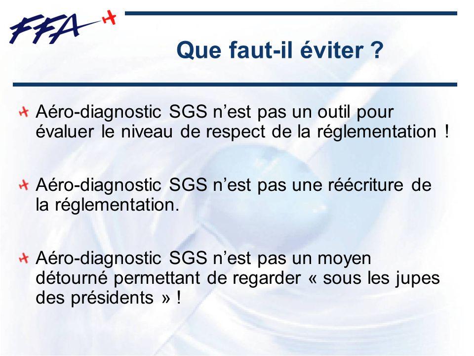 Que faut-il éviter ? Aéro-diagnostic SGS nest pas un outil pour évaluer le niveau de respect de la réglementation ! Aéro-diagnostic SGS nest pas une r