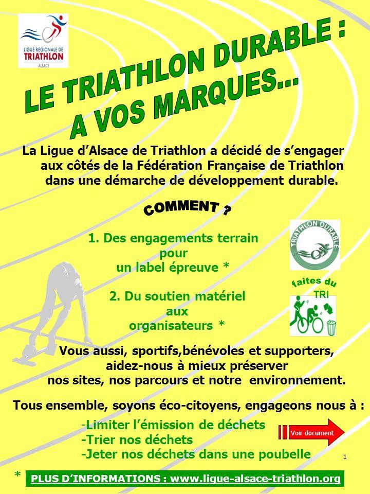 1 La Ligue dAlsace de Triathlon a décidé de sengager aux côtés de la Fédération Française de Triathlon dans une démarche de développement durable. TRI