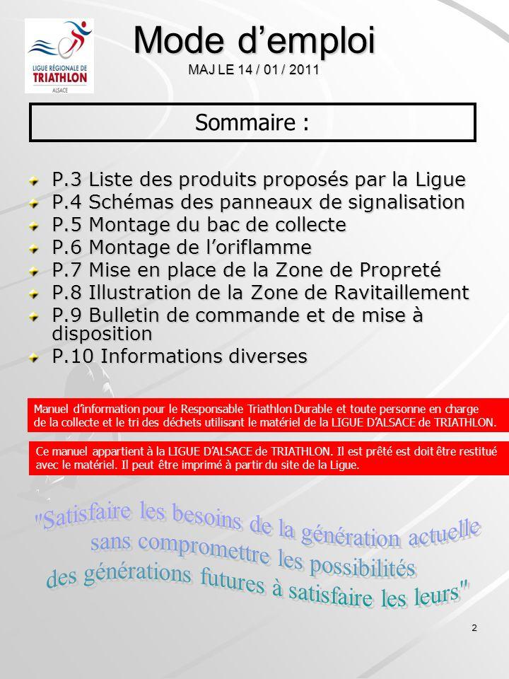 2 Mode demploi MAJ LE 14 / 01 / 2011 P.3 Liste des produits proposés par la Ligue P.4 Schémas des panneaux de signalisation P.5 Montage du bac de coll