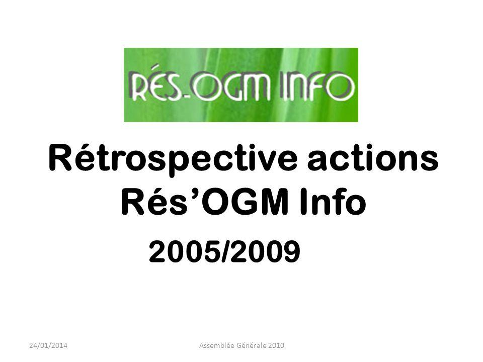 Rétrospective actions RésOGM Info 2005/2009 24/01/2014Assemblée Générale 2010