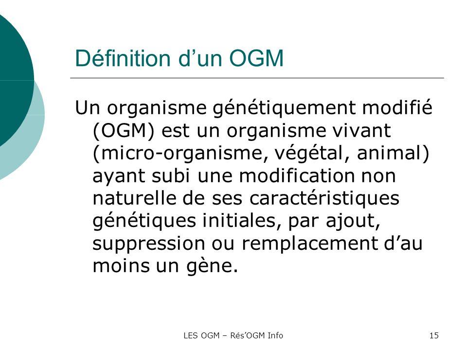 LES OGM – RésOGM Info15 Définition dun OGM Un organisme génétiquement modifié (OGM) est un organisme vivant (micro-organisme, végétal, animal) ayant s