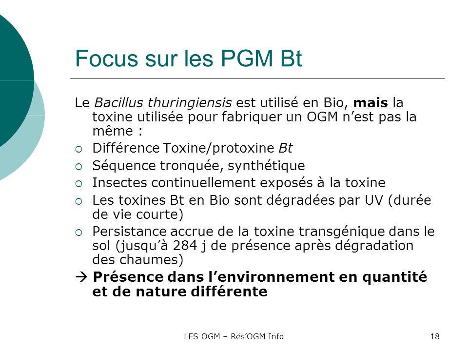 LES OGM – RésOGM Info18 Focus sur les PGM Bt Le Bacillus thuringiensis est utilisé en Bio, mais la toxine utilisée pour fabriquer un OGM nest pas la m