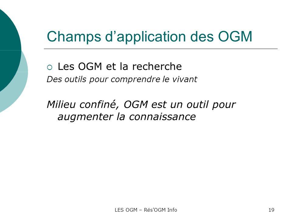 LES OGM – RésOGM Info19 Champs dapplication des OGM Les OGM et la recherche Des outils pour comprendre le vivant Milieu confiné, OGM est un outil pour