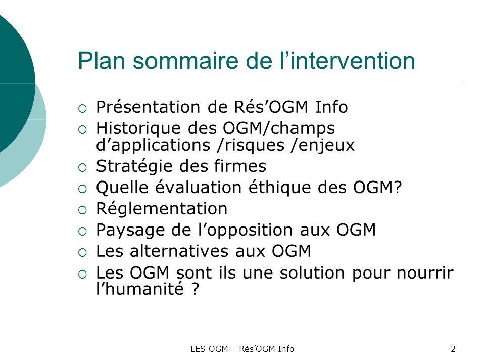 LES OGM – RésOGM Info2 Plan sommaire de lintervention Présentation de RésOGM Info Historique des OGM/champs dapplications /risques /enjeux Stratégie d