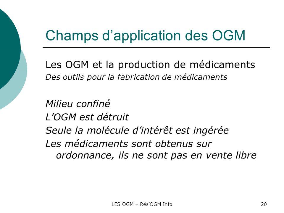 LES OGM – RésOGM Info20 Champs dapplication des OGM Les OGM et la production de médicaments Des outils pour la fabrication de médicaments Milieu confi