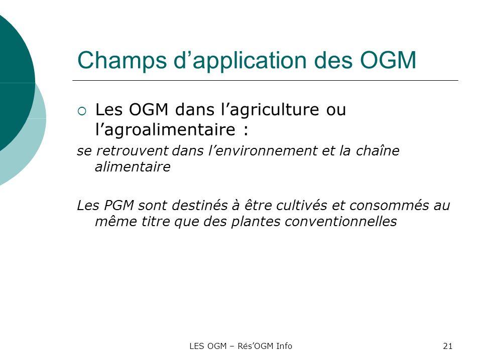 LES OGM – RésOGM Info21 Champs dapplication des OGM Les OGM dans lagriculture ou lagroalimentaire : se retrouvent dans lenvironnement et la chaîne ali