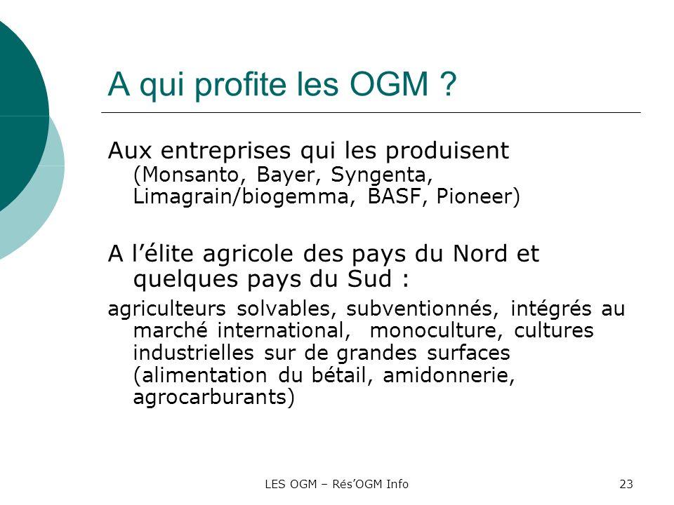 LES OGM – RésOGM Info23 A qui profite les OGM ? Aux entreprises qui les produisent (Monsanto, Bayer, Syngenta, Limagrain/biogemma, BASF, Pioneer) A lé