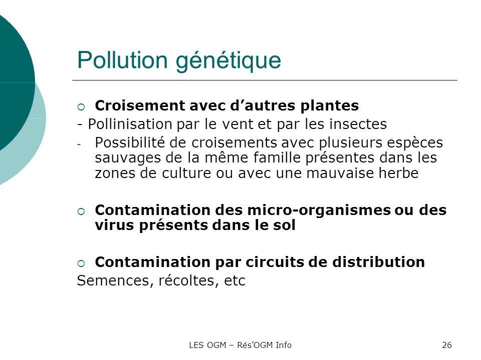 LES OGM – RésOGM Info26 Pollution génétique Croisement avec dautres plantes - Pollinisation par le vent et par les insectes - Possibilité de croisemen