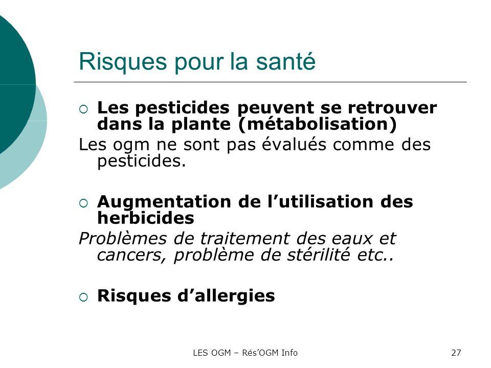 LES OGM – RésOGM Info27 Risques pour la santé Les pesticides peuvent se retrouver dans la plante (métabolisation) Les ogm ne sont pas évalués comme de