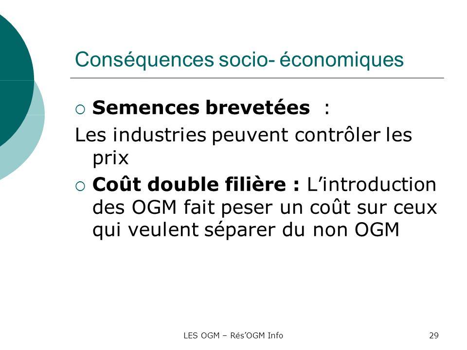 LES OGM – RésOGM Info29 Conséquences socio- économiques Semences brevetées : Les industries peuvent contrôler les prix Coût double filière : Lintroduc