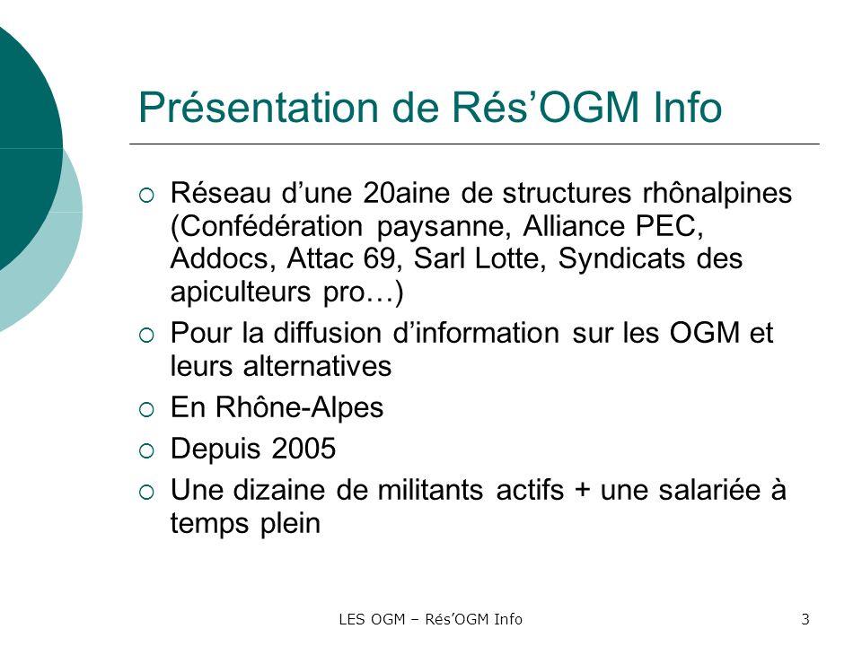LES OGM – RésOGM Info44 Rôles des ONG, asso et syndicats opposés aux OGM Alerte de la population Défense des citoyens, des consommateurs, des agriculteurs bio, des paysans Protection de lenvironnement Respect de lintérêt collectif contre les intérêts privés