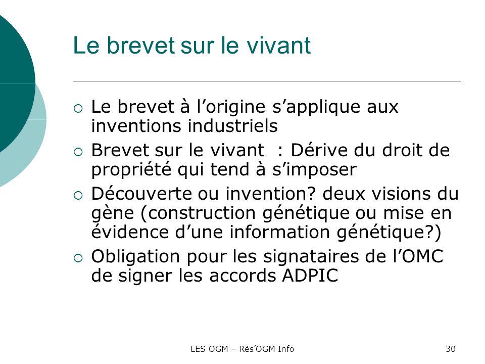 LES OGM – RésOGM Info30 Le brevet sur le vivant Le brevet à lorigine sapplique aux inventions industriels Brevet sur le vivant : Dérive du droit de pr
