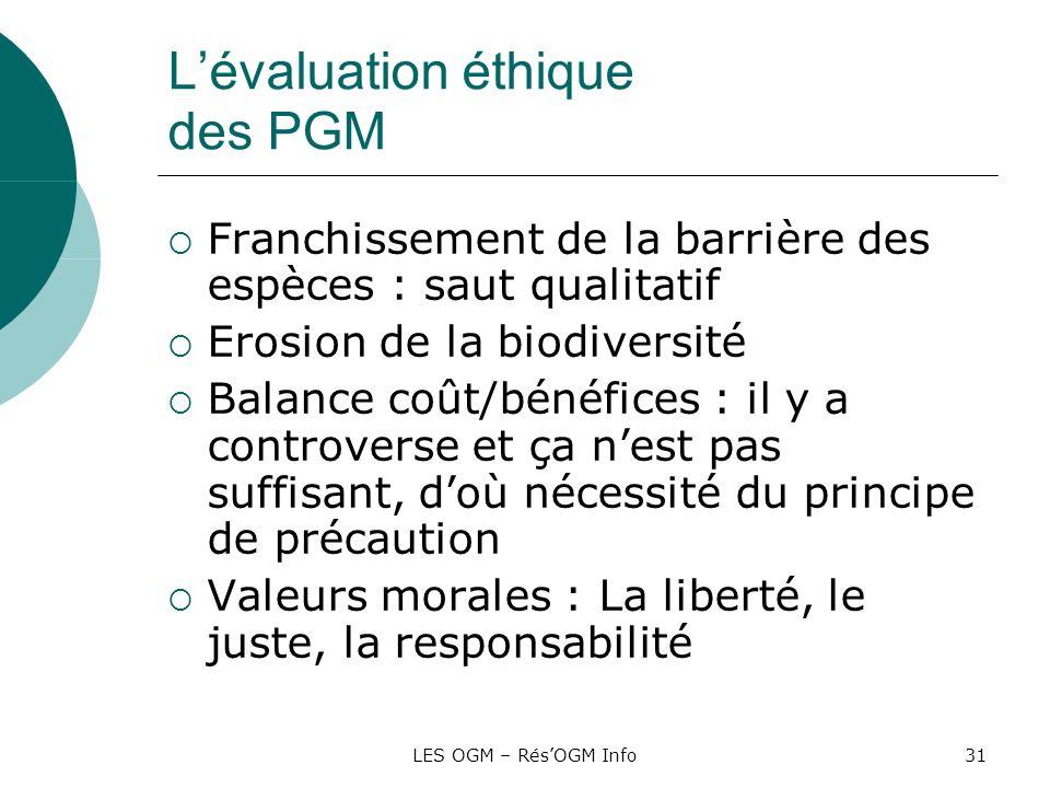 LES OGM – RésOGM Info31 Lévaluation éthique des PGM Franchissement de la barrière des espèces : saut qualitatif Erosion de la biodiversité Balance coû