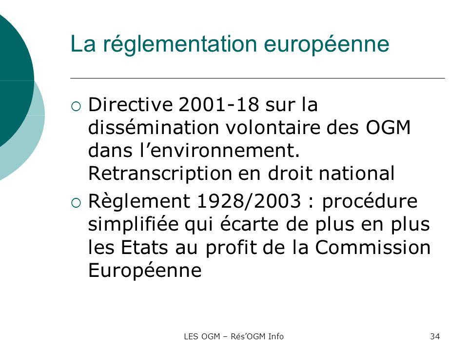 LES OGM – RésOGM Info34 La réglementation européenne Directive 2001-18 sur la dissémination volontaire des OGM dans lenvironnement. Retranscription en