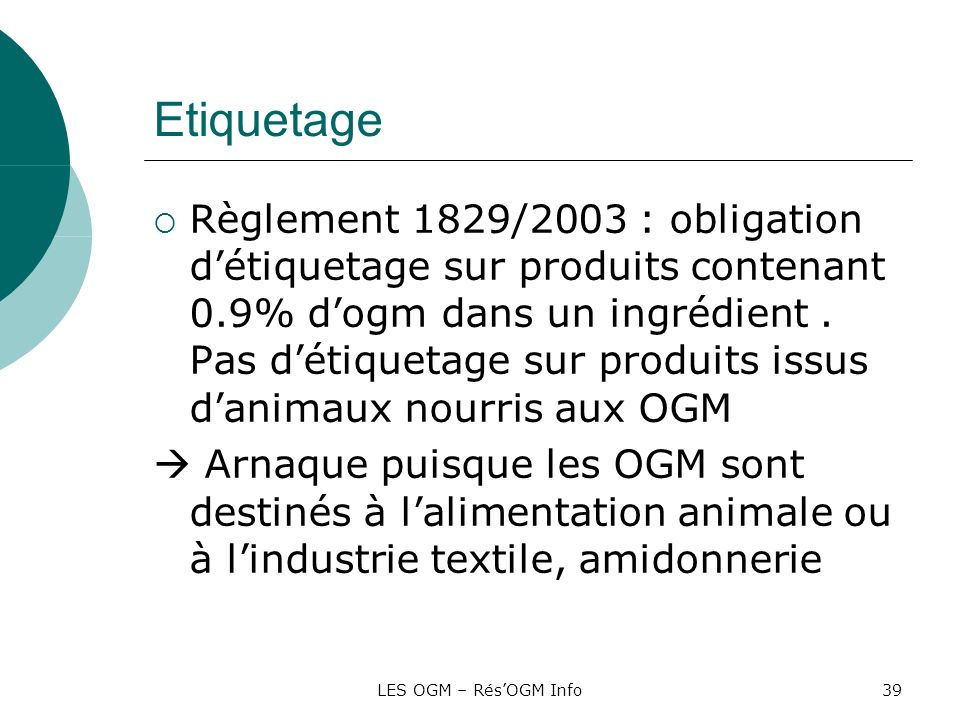 LES OGM – RésOGM Info39 Etiquetage Règlement 1829/2003 : obligation détiquetage sur produits contenant 0.9% dogm dans un ingrédient. Pas détiquetage s