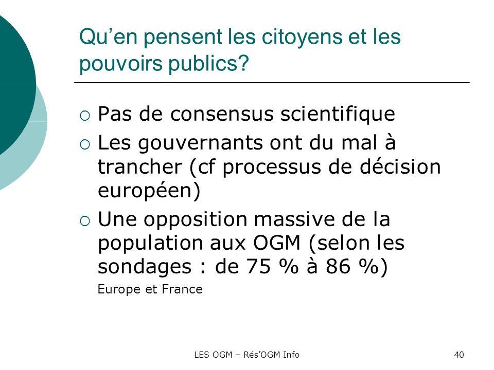 LES OGM – RésOGM Info40 Quen pensent les citoyens et les pouvoirs publics? Pas de consensus scientifique Les gouvernants ont du mal à trancher (cf pro