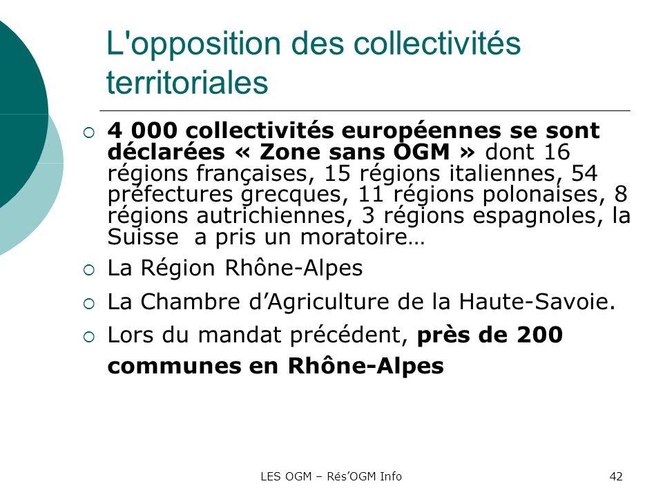LES OGM – RésOGM Info42 L'opposition des collectivités territoriales 4 000 collectivités européennes se sont déclarées « Zone sans OGM » dont 16 régio