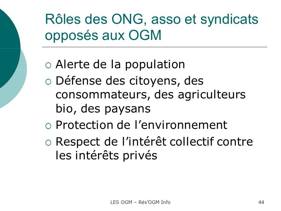 LES OGM – RésOGM Info44 Rôles des ONG, asso et syndicats opposés aux OGM Alerte de la population Défense des citoyens, des consommateurs, des agricult